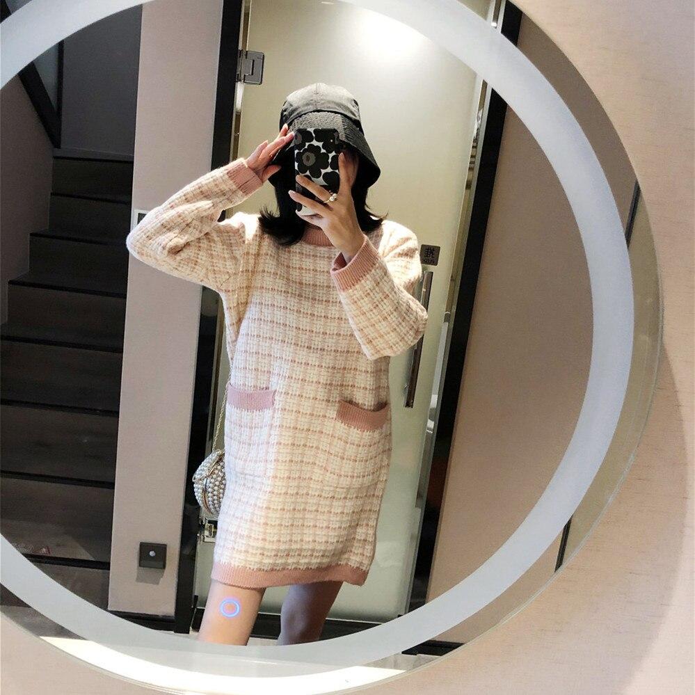 Designer de luxe femmes mode Plaid Jacquard poches à manches longues col rond vacances décontracté tricot pull Mini robe robes S-L - 4