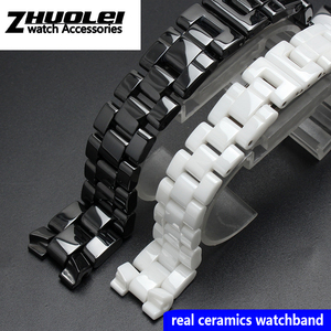 Image 1 - For J12 ceramics wristband high quality womens mens watch strap Fashion bracelet black white 16mm 19mm
