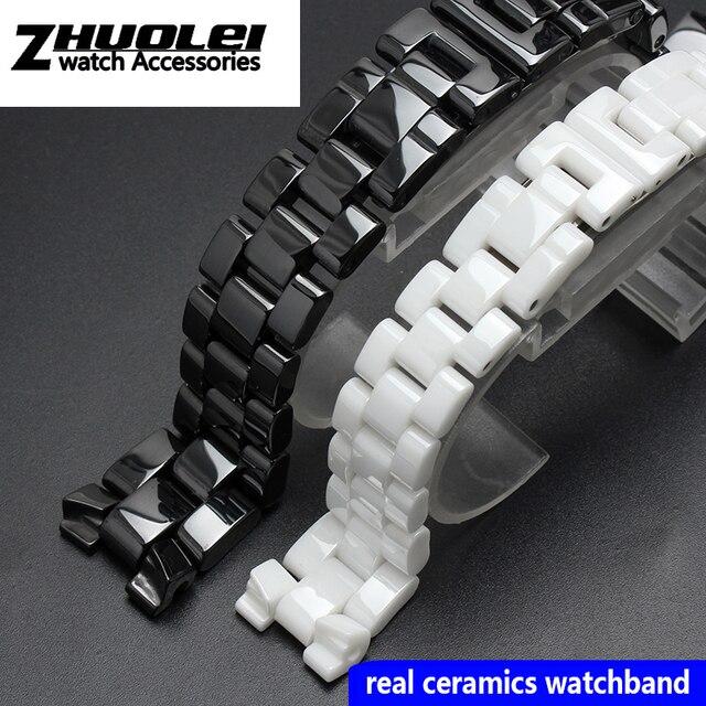 For J12 ceramics wristband high quality womens mens watch strap Fashion bracelet black white 16mm 19mm