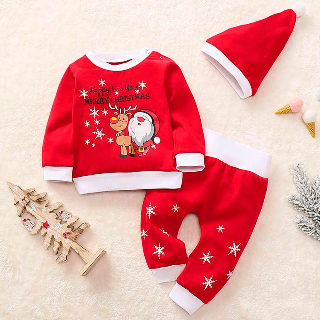 3PCS Baby Boys Girls First Christmas Xmas Santa Romper Tops Pants Hat Outfit Set