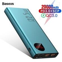 Baseus 20000 мАч Мощность банк USB C PD быстрое зарядное устройство 3,0 5A SCP Мощность банка для huawei Xiaomi iPhone Портативный внешний Батарея Зарядное устройство