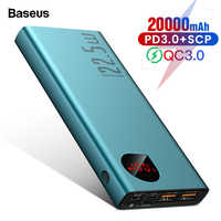 Baseus 20000mAh Power Bank USB C PD Quick Charge 3.0 5A SCP Powerbank For Huawei Xiaomi iPhone Portable External Battery Charger