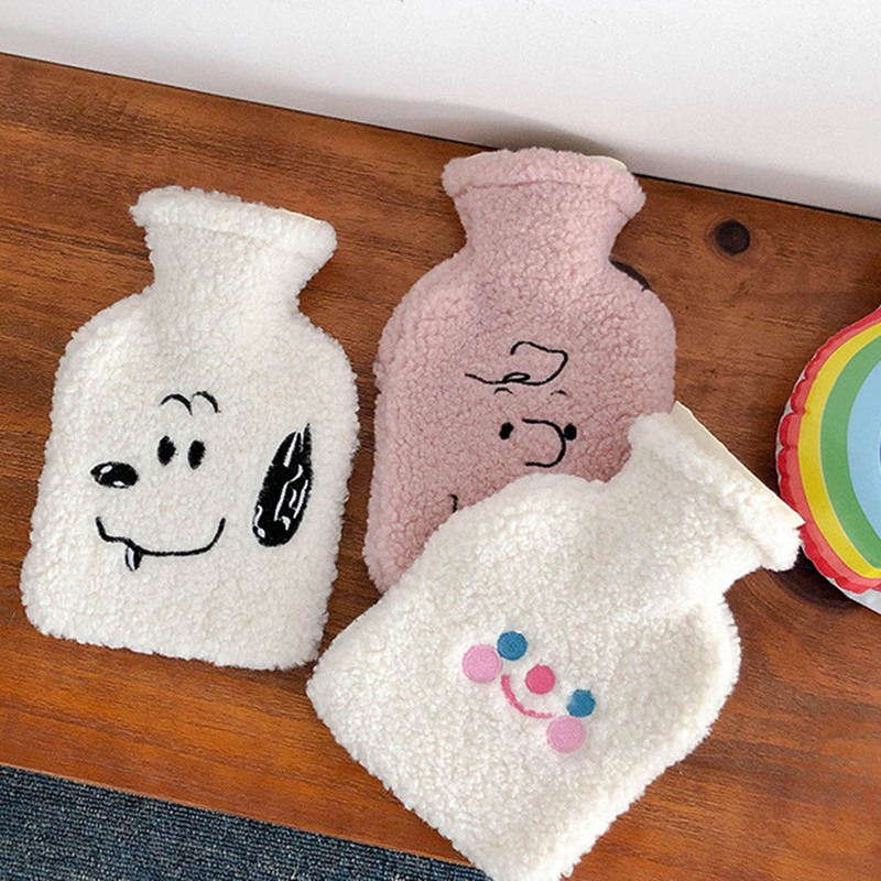 Soft Plush Water Bottle Bag Set Cute Cartoon Hot Water Injection Bags Small Portable Hand Clutch Warmer Storage Bag Rubber Bag