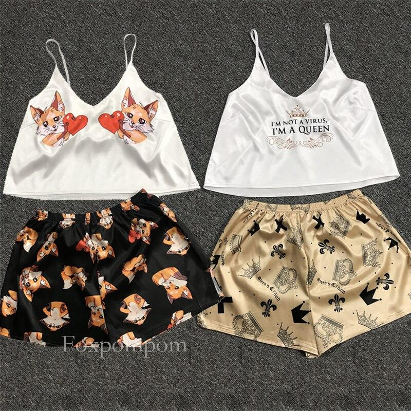 Сексуальная пижама, Женский пижамный комплект, кигуруми, единорог, Шелковый домашний костюм, принт лисы, v-образный вырез, Пижама для женщин, женская пижама, сатин, лето 2020