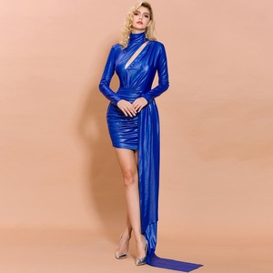 FJ2195B-2019, новое осенне-зимнее модное вечернее платье с высоким воротником и длинными рукавами, темпераментное платье