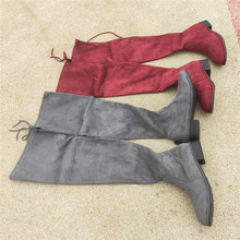 plus size flat shoes women suede womens High Sexy Overknee Elastic Woman Knight Long boots