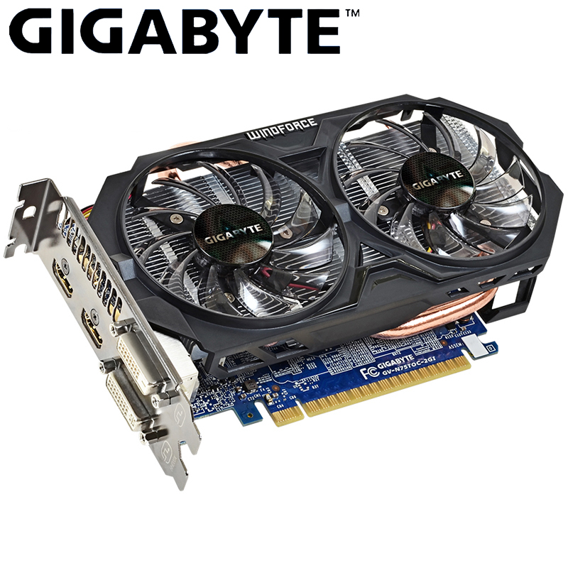 GIGABYTE Graphics Card GTX 750 Ti With WINDFORCE 2X NVIDIA GeForce Gtx 750 Ti GPU 2GB GDDR5 Video Card For Gaming PC Used Cards