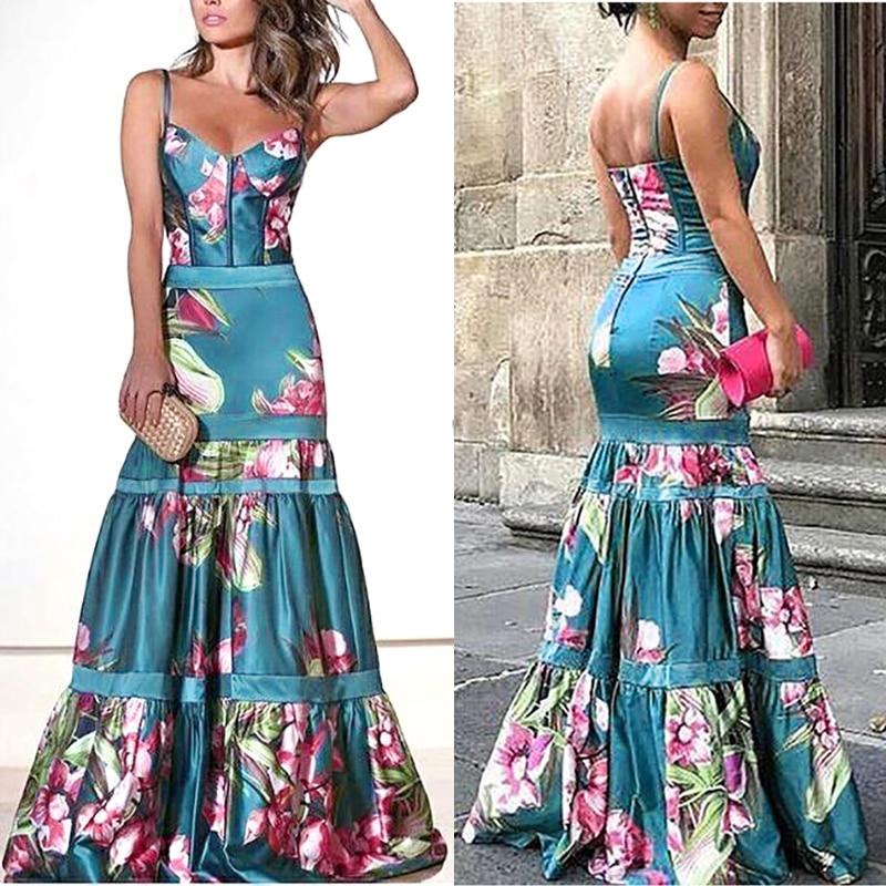 MD Summer Dress Ladies 2020 African Women V-neck Sexy Dress Floral Print Ankara Dresses Boubou Woman Dashiki Bazin Boho Clothing