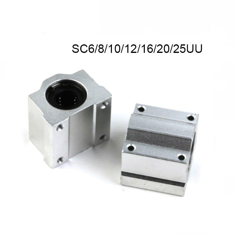 1-4pcs SC6UU SC8UU SC10UU SC12UU SC16UU SC20UU SC25UU SC30 Linear Motion Slide Block For Linear Shaft CNC Parts 3d Printer Parts