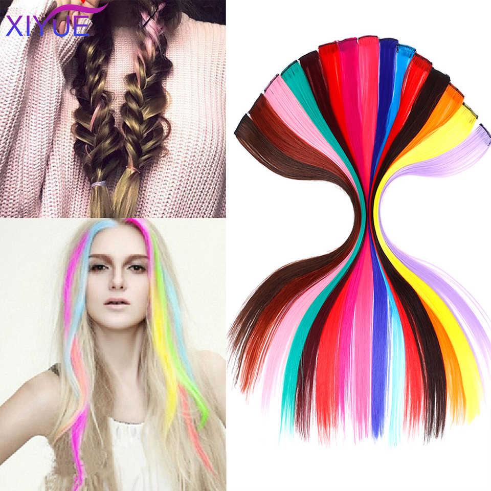 Lange Rechte Kleur Synthetisch Haar Stuk Haar Extensions Clip In Hoge Temperatuur Regenboog Haar Streak Roze Synthetisch Haar Streng