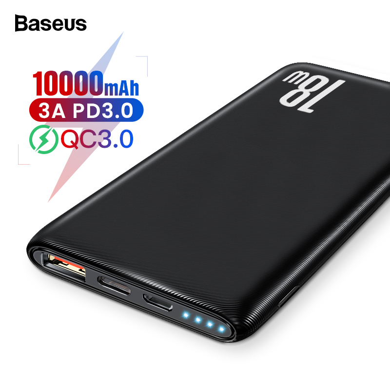 Baseus Quick Charge 3.0 10000mAh Power Bank QC3.0 PD Type C 10000 Powerbank Portable External Battery Charger For Xiaomi IPhone