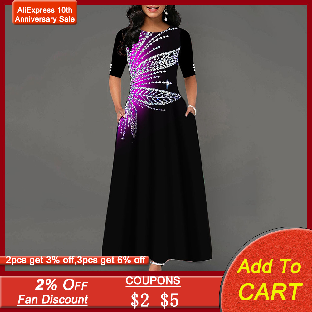 Retro Diamond Black Prom Party Dress Women Floral A-Line Long Dress Winter Spring Half Sleeve O-Neck Vinatage Plus Size Vestidos