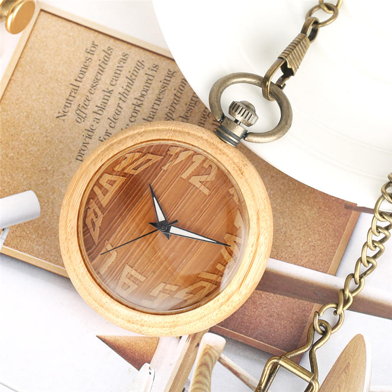 Natural Bamboo Pocket Watch Creative Numeral Dial Open Face Bronze Wood Pendant Clock Luminous Hands Montre Gousset Homme
