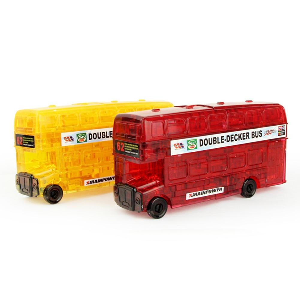 3D Double Decker Bus Car Crystal Puzzles Model DIY Building Blocks Kids Toy Gift For Children