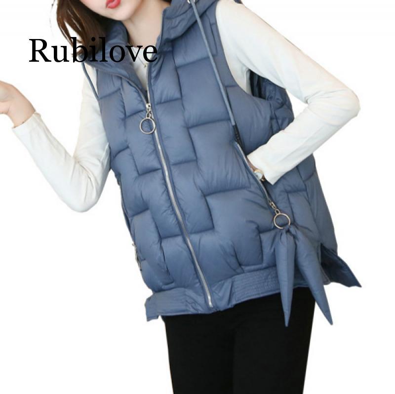 Rubilove 2019 Plus Size New Women Cotton Hooded Down Vest Hat Female Thicken Winter Warm Black Jacket Outerwear M-2XL