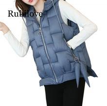 купить Rubilove 2019 Plus Size New Women Cotton Hooded Down Vest Hat Female Thicken Winter Warm Black Jacket Outerwear M-2XL по цене 1236.84 рублей