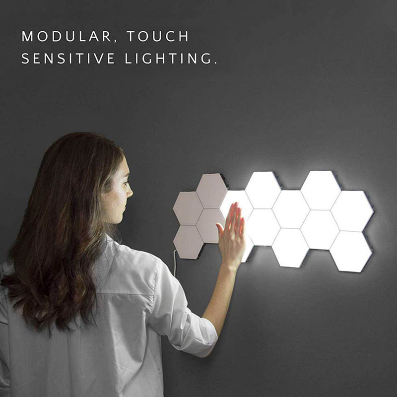 10 Pcs Quantum Lamp Led Modular Touch Sensitive Lighting Hexagonal Lamps Night Light Magnetic Creative Decoration Wall Lampara