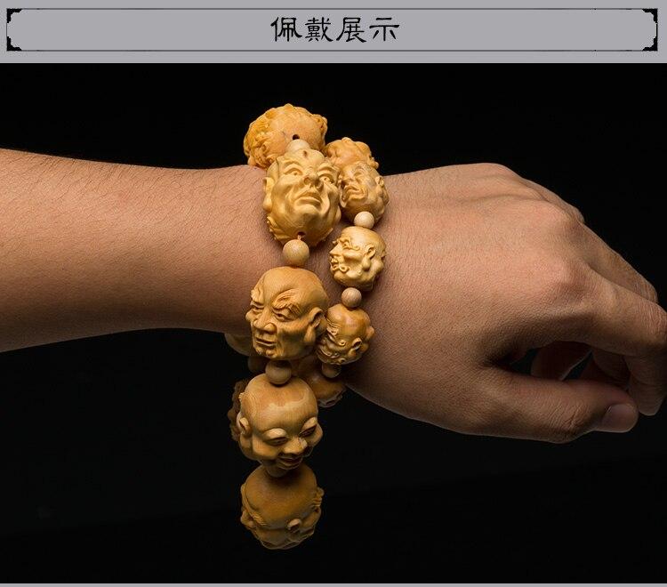 Caixa de madeira madera talada adornos de madera piezas de juego de mano tallado artesanías hombres e mujeres cuentas pulsera de