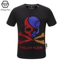 Camisa de moda europa e americana de Plein-2021, camisa de calavera de cor, camisa de manga corte de diamante caliente,