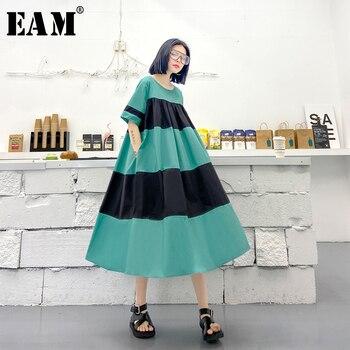 [EAM] Women Blue Striped Split Big Size Long Dress New Round Neck Half Sleeve Loose Fit Fashion Tide Spring Summer 2020 1U660
