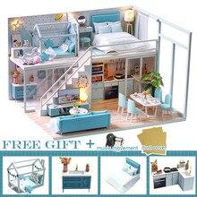 Кукольный домик «сделай сам», деревянный миниатюрный дом для кукол, с комплектом мебели, игрушки для детей, рождественский подарок, кукольн...
