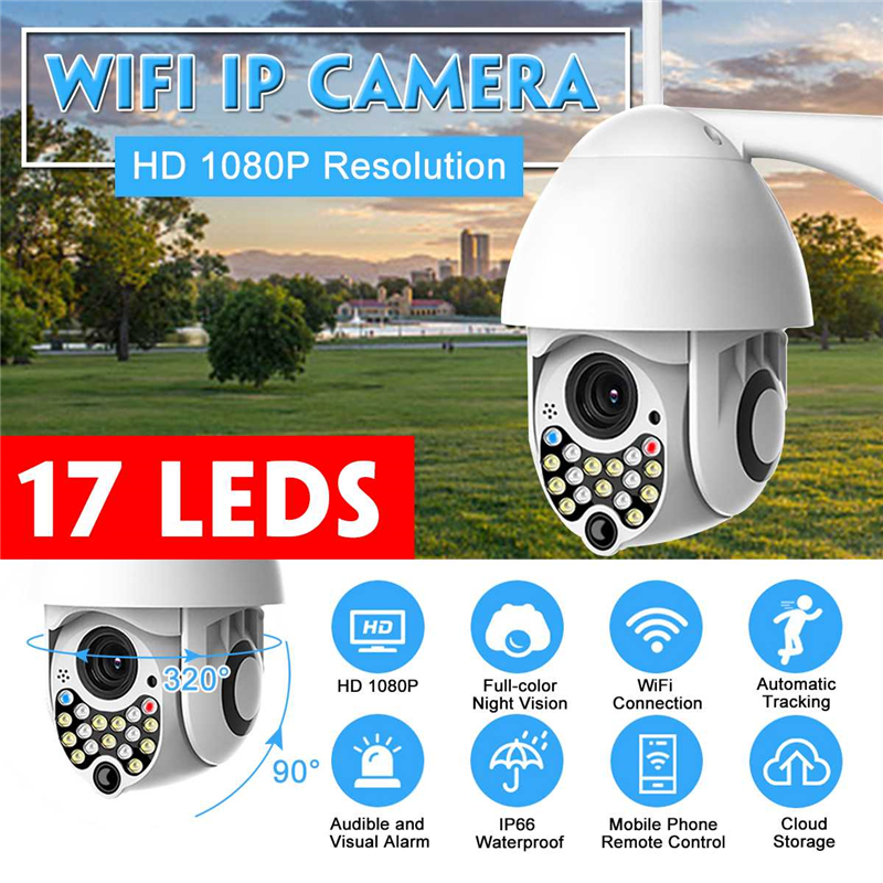 HD 1080P IP Camera Wifi Wireless Security Camera 17 LEDs Night Vision Pan Tilt Two Way Talk Cloud Storage Outdoor Monitor