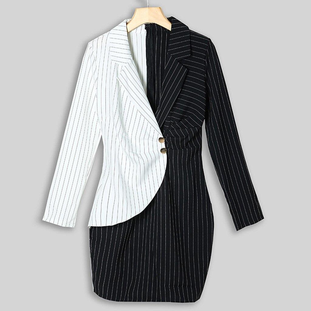 Autumn Dress Women Turn Down Neck Long Sleeve Buttons Striped Patchwork Tight Blazer Dress Vestido De Festa White Dress #D5