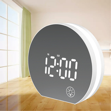 USB powered Digital LED Mirror desk  Snooze Alarm clock white  with Calendar & Electronic Thermometer & desk lamp table watch