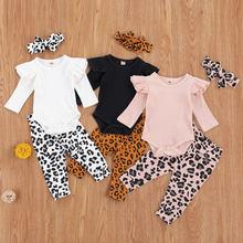 0-18m outono bebê meninas com nervuras conjunto de roupas cor sólida manga de vôo macacão e calças de leopardo com bandana 3 pçs outfit
