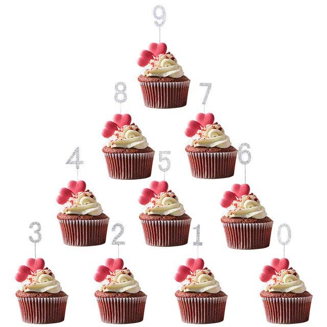 1Pc Glitter Numero Cake Toppers Baby Shower Decorazione Di Compleanno di Cerimonia Nuziale del Rhinestone Della Lega di Oro Argento Digital Dolci Da Dessert Decorazione 5