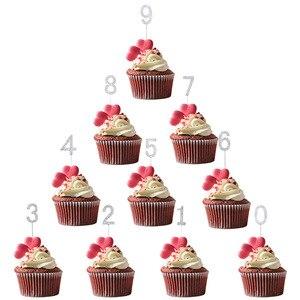 Image 5 - 1Pc Glitter Numero Cake Toppers Baby Shower Decorazione Di Compleanno di Cerimonia Nuziale del Rhinestone Della Lega di Oro Argento Digital Dolci Da Dessert Decorazione