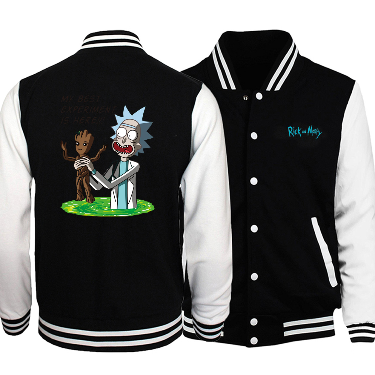 Funny Rick And Morty Science Experiment Hero Groot Baseball Jacket Men Casual Autumn Plus Size Sportswear Hip Hop Streetwear