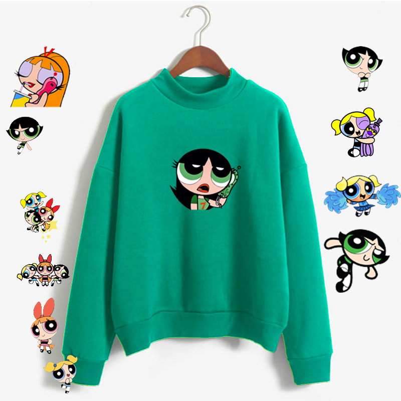 Kawaii Powerpuff  Cute Girls Sweatshirt  Fashion Women's Clothing Sweatshirt Cartoon Print Hoody Girls Autumn Fashion Top