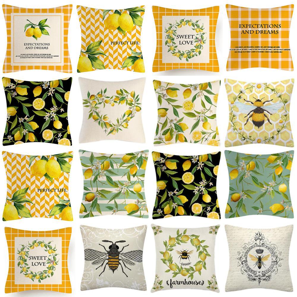 1Pc Throw Pillow Cushion Cover Sweet Summer Farmhouse Lemon Linen Pillowcase Lemon Pillow Covers Decorative 45x45 Cushion Cover