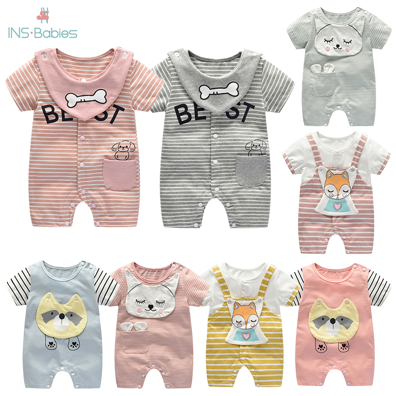 Newborn Baby Clothes For Girls Summer Babies Boy Romper Cotton Pink Girl Clothes 6-18m Short Sleeve Animal Baby Jumpsuit Costume