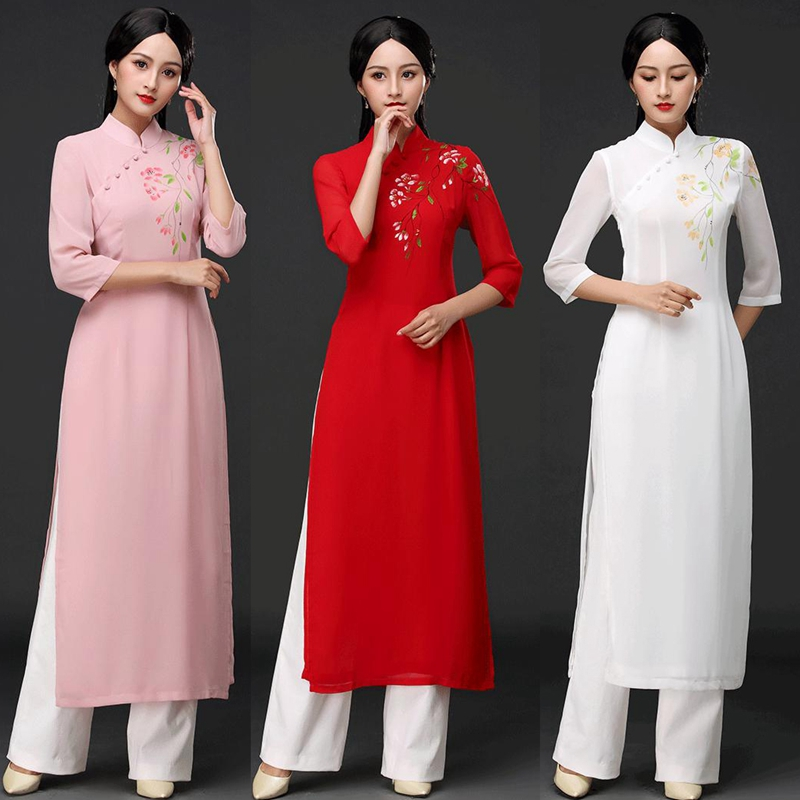 2019 Vietnamese Aodai Vietnam Cheongsam Folk Style More Feminine Dress For Women Traditional Clothing Floral Ao Dai Set