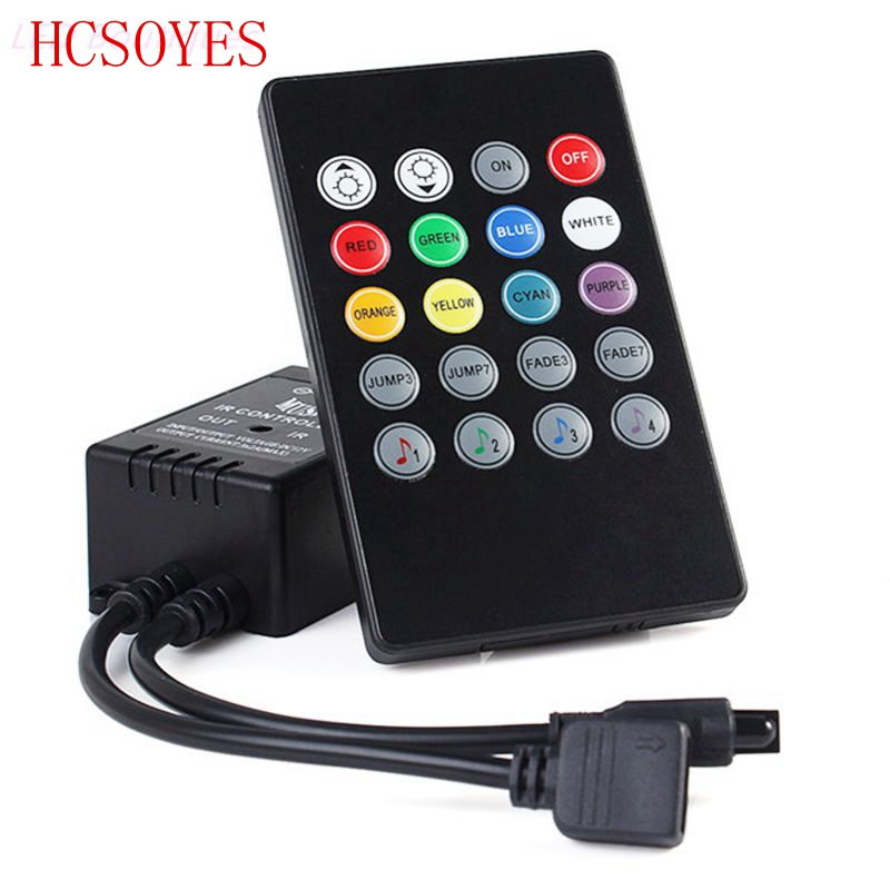 20 Key Music IR Controller Black Sound Sensor Remote For RGB LED Strip 12V-24V For RGB 5050 3528 Smd LED Strip
