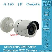 統合マイク5MP 4MP 3MP 2MP H.265オーディオip弾丸カメラ2592*1944 XM550AI + SC335E onvif cms xmeye irc rtspモーション検出