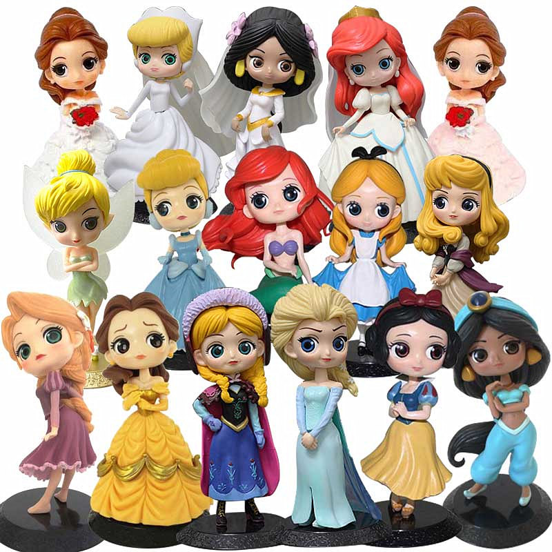 Disney Princess Toys Frozen Elsa Anna Rapunzel Belle Cinderella Alice Snow White Ariel Action Figures PVC Model Collection Gifts