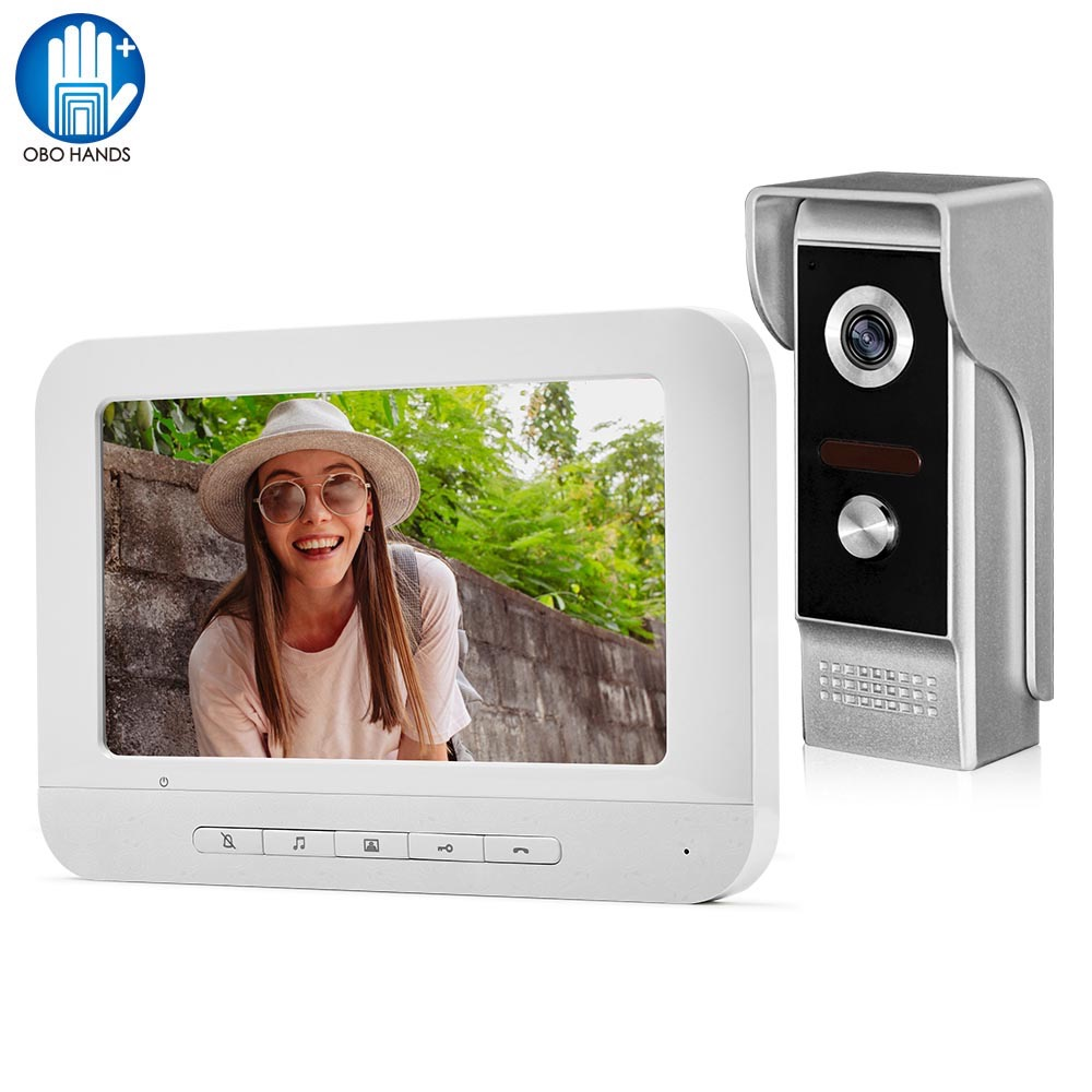 Wired Video Doorbell Intercom System 7 inch Color Monitor Panel with Night Vision Video Camera Door Phone Two-way Audio Home Use