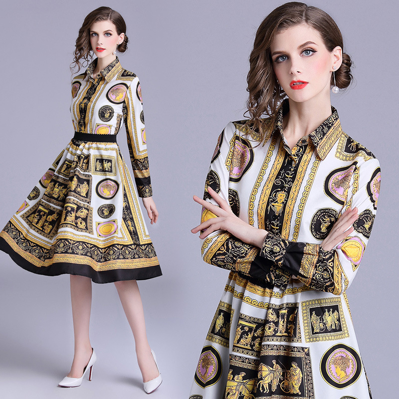 2018 New Style Autumn New Products WOMEN'S Dress-Style Printed Long-sleeve Blouse + Medium-length Big Skirt Fashion Leisure Suit