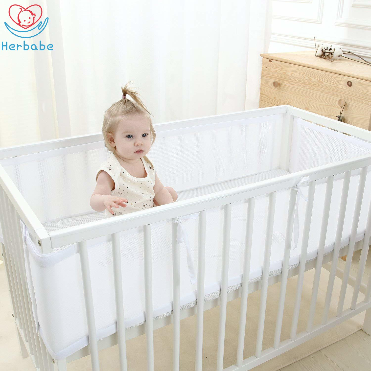 Herbabe 2pcs Newborn Baby Crib Bedding Set Playpen Fence Breathable Kids Bed Bumper Safety Bed Rail For Baby Room Accessories