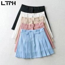 LTPH vintage mini pleated skirt women solid high waist zipper short A line Korean fashion casual all match skirts 2021summer new