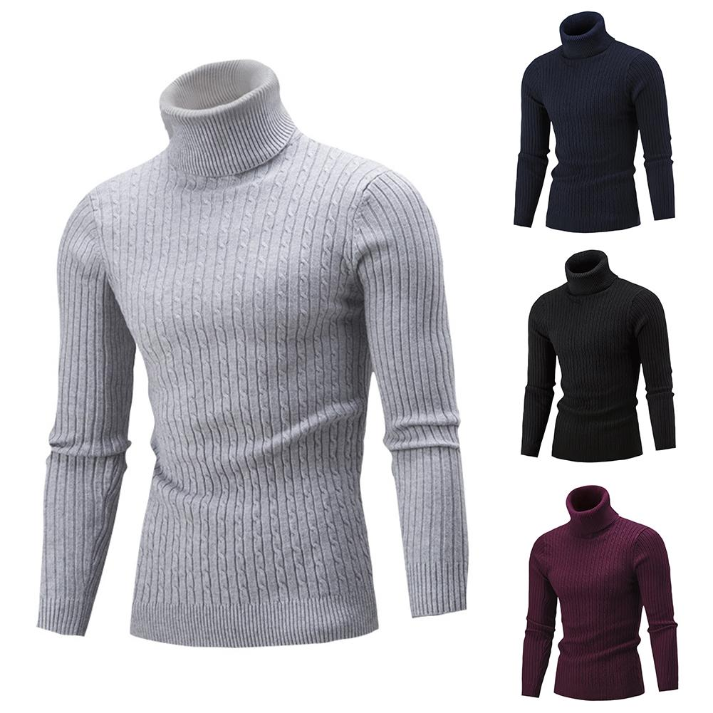 2020 Lowest Price Men Solid Color Long Sleeve Turtle Neck Pullover Slim Knit Sweater Jumper Top 1 Free Shipping