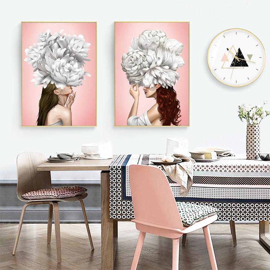 Модный белый цветок пиона девушка настенная живопись холст скандинавский