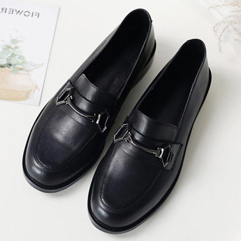 Sapatos femininos oxford sapatos de trabalho formal calçado preto apartamentos deslizamento on retro couro genuíno sapatos femininos de casamento mocassins - 3