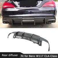 For W117 Carbon Fiber Rear Lip Diffuser Spoiler For Benz W117 CLA200 CLA250 CLA260 CLA45 2013 2019 Back Bumper Guard|Bumpers| |  -