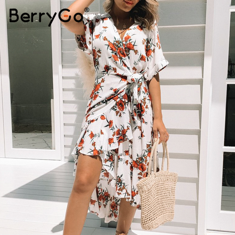 BerryGo Floral Print Bow Tie Midi Boho Dress Women High Waist Sash Beach Dress Female Holiday V Neck Summer Dresses Vestidos