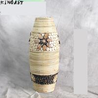 Große Retro Bambus Weiß Boden Vase Große Wohnzimmer Dekorative Große Boden Vase Hause Kunst & Handwerk Blume Topf Woven antike Vase|Vasen|   -