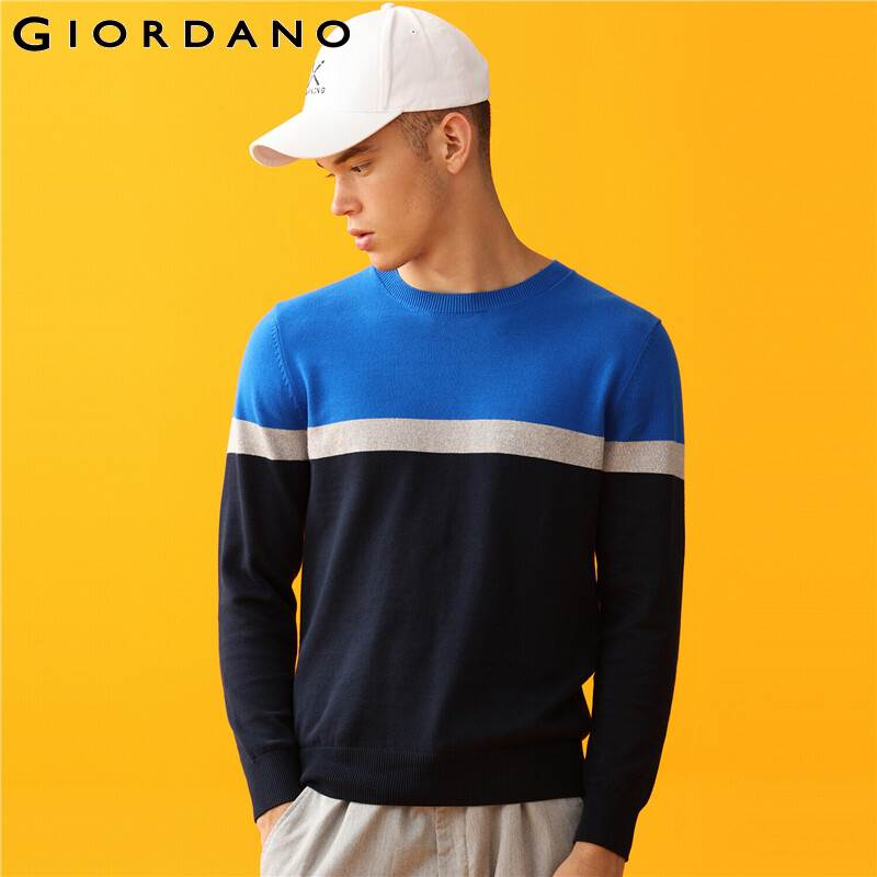 Giordano Men Sweaters Contrast Long-sleeve Knitted Sweater 12 Needle Knitting Cotton Blusa De Frio Masculino 01059852